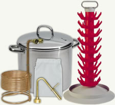Wort chiller, brew kettle, jet bottle washer, grain bag and bottle tree.